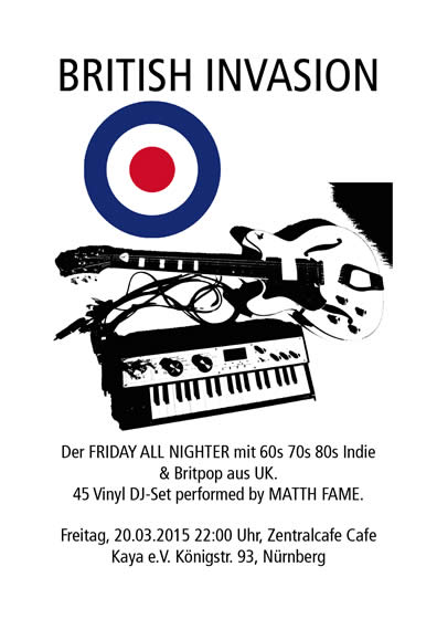 Poster British Invasion. Britpop party at Zentralcafe KUKUQ Nuremberg