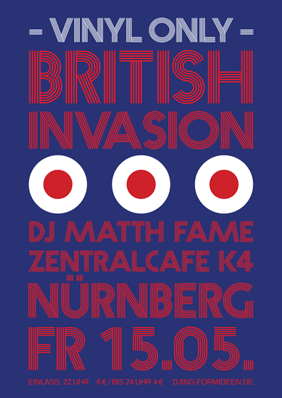 Poster British Invasion. Britpop party at Zentralcafe Künstlerhaus Nuremberg